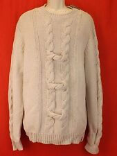 NWT BURBERRY IVORY ARAN KNIT COTTON VISCOSE SILK  FISHERMEN CABLE SWEATER XL