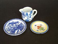 3 Miniatures - Blue & White Pottery Jug, Empire Made Plate and Quimper Plate