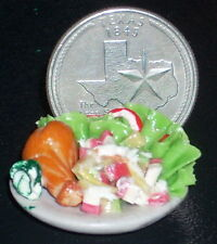 Plated Food Meal Chicken Salad Vegetables Restaurant Dollhouse Miniature #2900