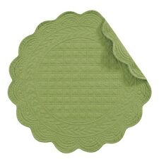 "Set of 4 PCS,17"" ROUND Quilted Placemats, GREEN,812601350G"