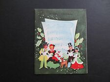 #K630- Vintage Xmas Greeting Card Victorian Carolers Singing Holiday Songs