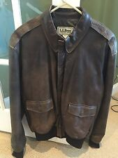 VTG LL Bean Brown Leather Bomber Jacket Mens Size 44 Thinsulate