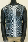 KAYDEN.K Mens Sublimation Synthetic Leather Long Sleeve Tee Snake Skin Pattern