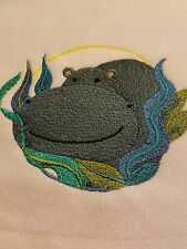 Personalized Embroidery Baby Fleece Blanket With A Hippopotamus