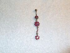 Double Pink Crystal Flower Dangle Charm Belly Navel Ring Body Jewelry Piercing