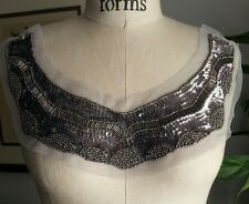 Unique Neckline Applique METALLIC Bead Sequin in Pewter & Silver Tone