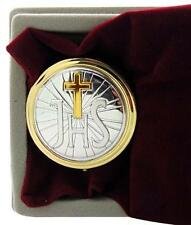 NEW JHS Cross Pyx Brass & Silver Tone Metal w/ Velour Burse Catholic Gift Set