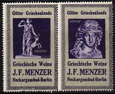 42582/ Reklamemarke - KJ.F. Menzer - Weine - Neckargemünd - Artemis u. Dionysos
