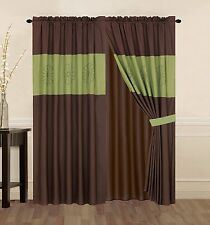 4PIECE Curtain Set: Panels valance bcking tie backs SAGE green Brown Drapes-HS16