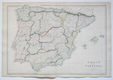 SPAIN PORTUGAL 1859 GENUINE ANTIQUE MAP BLACKIE OUTLINE  HAND COLOURING