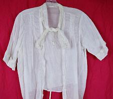 1910 Edwardian Blouse  L XL B 44 W 45 Bow Tie Neck Filet Lace Pneumonia