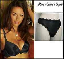 Splendour Black Push up Plunge Double Inserts Bra 32B  Thong 10 RRP: £31