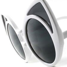 White Old Fashioned Vintage Retro Party Funky Large Oversized Cat Eye Sunglasses