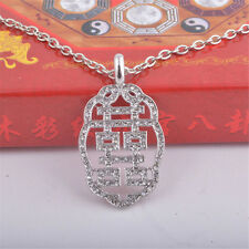 Bejeweled Silver Color Double Happiness Symbol w Love Knot Frame Necklace W1015