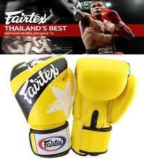 Authentic Fairtex Nations Print Muay Thai Sparring Gloves YELLOW, MMA , Boxing
