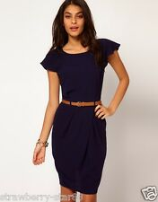 Midi Tulip Dress with Flute Sleeves RRP £ 40 UK 10 EU 38 US 6 Navy