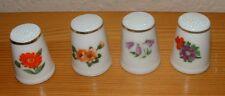 4er Set Fingerhüte aus Porzellan mit Blumenmotiven