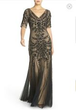 Adrianna Papell Sz 14 Black Floral Beaded Gown NWT Short Sleeve MSRP $409
