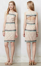 ANTHROPOLOGIE Maeve NWT Rosegold Lace Shift Dress Nude Back Cutout Sz L $138