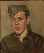 SOUNGOUROFF 1943 SOLDAT STALAG XVII B TABLEAU ART RUSSE HST PORTRAIT PEINTURE