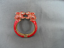 Red enamel and rhinestone bunny rabbit hinge bangle bracelet