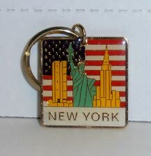 New York, Flag, Statue Of Liberty & Skyline, Metal Keychain by Kings, BRAND NEW