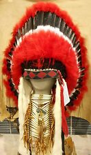 "Native American Navajo War Bonnet Headdress 36"" COMANCHE Red Black White feather"