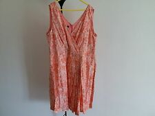 Talbots Plus Sz Silk/Cotton Peach /Ivory Printed Dress Sz 18W NWT $189