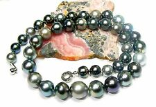 """RARE HIGH LUSTER BLACK PEACOCK TAHITIAN SOUTH SEA PEARLS STRAND NECKLACE 17.25"""""""
