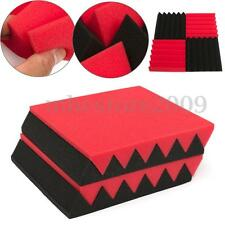 "12 Pack 12""x12""x2"" Studio Acoustic Foam Soundproofing Wall Panel RED/BLACK Wedge"