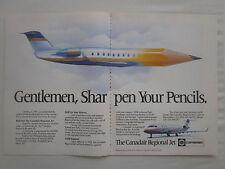 6/1991 PUB BOMBARDIER CANADAIR REGIONAL JET PENCIL CRAYON ORIGINAL AD
