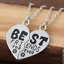 Best Friends Forever Broken Heart Flower Friendship Pendant Necklace Chain Gifts