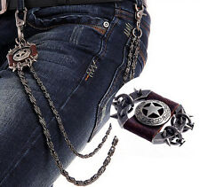 New Men Brown Star Rock Wallet Chain Biker Trucker Punk Heavy Metal Jean Chains