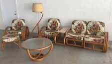 8 piece vintage rattan suite set sofa chairs side coffee tables lamp Paul Frankl