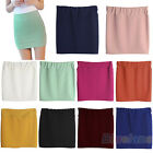Solid Color Seamless Stretch Tight Short Fitted Bodycon Clubwear Mini Skirt B8BU