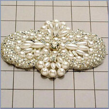 PEARL BEADED RHINESTONE APPLIQUE 0818