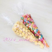 Hot! New 100x Clear Cone Cellophane Candy Bags Wedding Party Gifts Display cx
