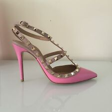 Valentino Bubblegum Pink Smooth Leather Rockstud Pumps Size 38.5 Last Pair