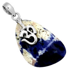 Om Sodalite 925 Sterling Silver Pendant Jewelry 5333P