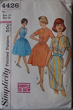 Uncut 60s Dress Slim or Full Skirt Vtg Sewing Pattern Simplicity 4426 B 34