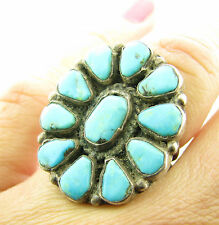 Old Pawn Vintage Sterling Navajo Turquoise Cluster Petit Point Squash Ring