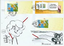 ISRAEL 2010 ANIMATION STAMPS BOOKLET 7 FDC's SET - RARE SET ONLY 50 MADE