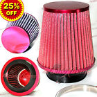 """3"""" 76mm Inlet HIGH FLOW Short Ram Cold Air Intake NARROW Cone MESH Filter RED"""