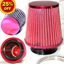 "3"" 76mm Inlet HIGH FLOW Short Ram Cold Air Intake NARROW Cone MESH Filter RED"