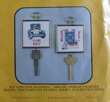 Vintage 1977 COUNTED CROSS STITCH Kit #SA-26 CAR & DOOR KEY FRAMED HANG UPS