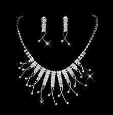 Bridal Wedding Jewelry Set Crystal Rhinestone Diamante Necklace & Earrings Party