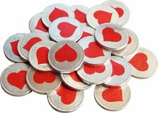 LARGE SILVER FOIL LOVE HEART COINS CHOCOLATE x 193, WEDDING FAVOURS, VALENTINES,