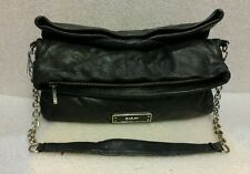 Womens DKNY PURSE black LEATHER with CHAIN STRAP