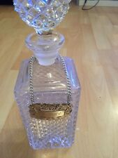 Vintage Cut Glass  Bottle Square Spirit Decanter With Whisky Silver Plate Label