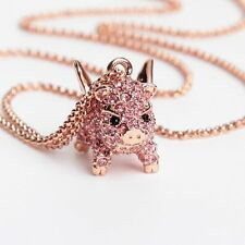 """Mini Flying Pig Pendant Necklace Pink Crystal Full Paved Rose Gold Plated 16.5""""L"""